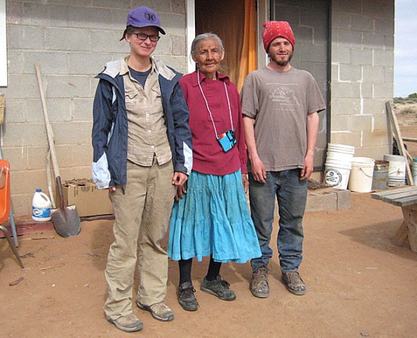Former Antioch College students Jenny Johnson and Jake Stockwell spend several months each year at the Diné reservation in the four corners region of Arizona herding sheep for Diné elder Pauline Whitesinger, center, to support the tribe's resistance to a federal relocation policy. (Submitted photo)