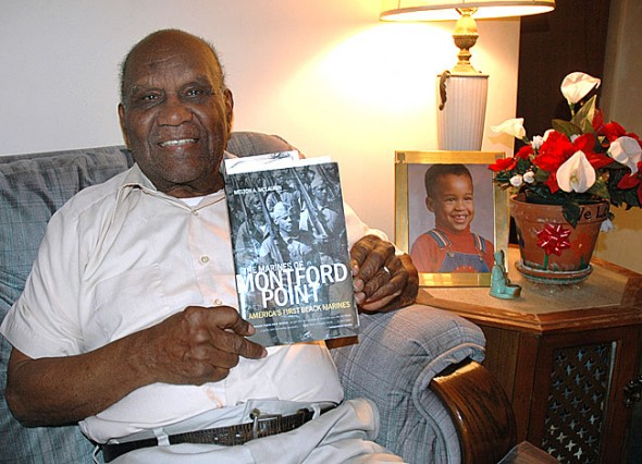 Villager Jonas Bender will be honored soon for his World War II military service, when he was part of the first group of African Americans to join the Marines. Called the Montford Point Marines, the group was subjected to racism and segregation while in the military. The group will receive the Congressional Gold Medal this spring for its contributions to the war effort. (Photo by Diane Chiddister)