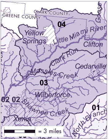 The Little Miami River collects runoff from approximately 1,800 square miles in its watershed. (Map courtesy of Ohio EPA)