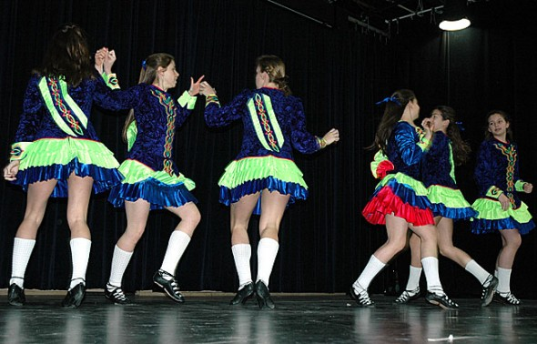 Members of the Celtic Acacemy of Irish Dance visited Mills Lawn School Friday, March 16, for a St. Patrick's Day demonstration. (Photos by Matt Minde)