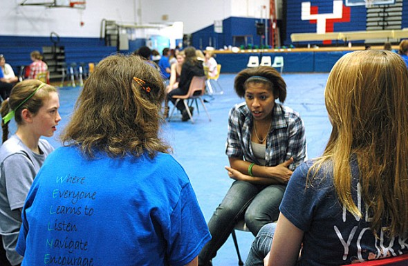 McKinney students break out into small groups on Re-do Day. (Photo by Megan Bachman)