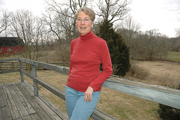 Longtime Yellow Springs novelist Ruth Myers has recently published an e-book, No Game for a Dame, a mystery set in Depression-era Dayton. The novel has hit the top-10 list of historical mysteries on Amazon.com. She's shown at her home southeast of Yellow Springs. (photo by Diane Chiddister)