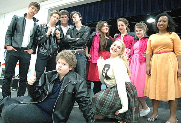 YSHS students have brought energy and enthusiasm to the spring musical production, according to director Katie Mann. Main cast members are, in the back row, from left to right, Wade Huston, Benjamin Green, Cole Edwards, Rory Papania, Dora Perini, Naomi Guth, Lucy Callahan and Zyna Bakari; front row, Bear Wright and Ali Solomon. (Photo by Megan Bachman)