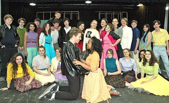 The Yellow Springs High School spring musical, Grease, will be presented this weekend and next at the Mills Lawn gym, with performances Friday and Saturday at 8 p.m. and Sundays at 2. This Saturday, April 14, the Yellow Springs High School Theater Arts Association presents its annual Curtain Warmer fundraiser, with food and drink at the Morgan House, beginning at 6:45 p.m. Tickets are $25. (Photo by Megan Bachman)