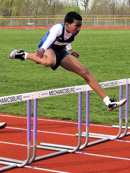 McKinney athlete Kaner Butler hurdled through the course at the track team's first meet last week. Butler finished in 20.82 in the 110-meter hurdles before taking fourth place in the high jump. (Submitted photo)