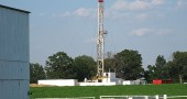 West Bay Exploration, a Michigan oil and gas company, had received a permit from the Ohio Department of Natural Resources to drill an exploratory oil well on a Miami Township property. Shown is a temporary drilling rig in southern Michigan, which is somewhat larger than what would be used in this area. (Submitted photo by West Bay Exploration)