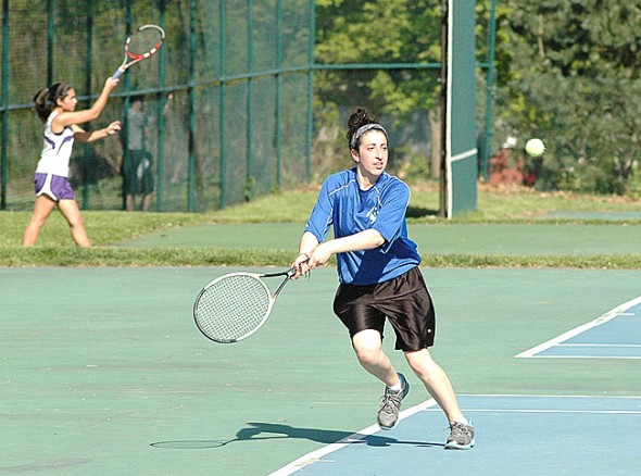 Junior Liana Rothman stepped up to play first singles during the Bulldogs' 3–2 loss to Dayton Christian last week. The Bulldogs swept the doubles courts but lost all three singles matches. Visit ysnews.com for more photos. (Photo by Megan Bachman)