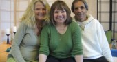 Local yoga teachers Patricia Schneider, left, and Andrew Junker are shown with nationally known teacher Judith Lasater, who will lead a five-day yoga workshop at Bryan Center beginning Saturday, April 28. Laseter is one of several well-known yoga teachers who Schneider and Junker bring to town for workshops. (Submitted photo)