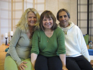 Internationally known yoga teacher Judith Lasater, shown center, will teach a five-day workshop in the village beginning April 28. She's shown with local yoga teachers Patricia Schneider and Andrew Junker, who operate Yellow Springs Yoga.