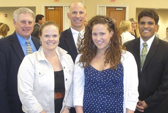 Erika Chick, pictured with Greene County Educational Service Center superintendent Terry Thomas, parents Jody and Greg Chick and Yellow Springs superintendent of schools Mario Basora, received the Franklin B. Walter All-Scholastic Award. (Submitted photo)