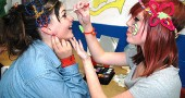The first district-wide Yellow Springs Schools K-12 Arts Fest took place last Thursday evening at the high school. Face painting was a popular activity; shown above, Lorien Chavez got painted by Morgan Chaplin.