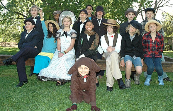The Antioch School older group will perform Mary Poppins at 7 p.m. on Friday and 12:30 p.m. on Saturday at the Clifton Opera House. Students in the production are, from left, front row, Kai Maruyama; middle row, Grant Crawford, Cessi Jones, Jorie Sieck, Ket Snyder White, Kaden Boutis, Zachary Brintlinger-Conn, Ella Comerford; back row, Graham Arnett, Sulayman Chappelle, Zenya Hoff-Miyazaki, Eli Jones, Carter Griffin, Brice Bogan, Forrest Rowe. Evelyn Potter and Miles Sturm are not pictured. (Photo by Megan Bachman)