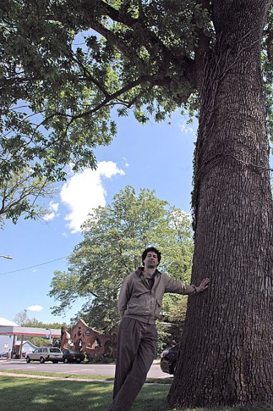 Nick Boutis, director of Glen Helen, last week identified some of the ash trees downtown, including this large ash outside the Jackson Lytle and Lewis Funeral Home on Xenia Avenue. The trees are at risk from the Emerald Ash Borer, and experts believe that if the insects ­ — which have killed millions of trees in Michigan and Ohio — aren't already in the village, they will be soon. (Photo by Diane Chiddister)