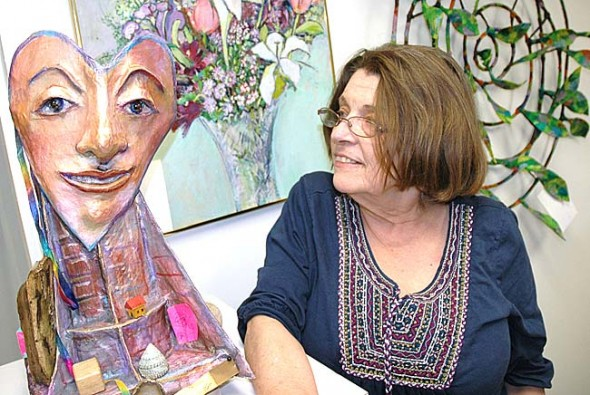 "Margrit Tydings-Petrie will teach art classes on creating papier-mâché puppets from 2 to 4 p.m. on Saturday, May 26, and Saturday, June 2, at the Arts Council's new space at 111 Corry Street. Tydings-Petrie's ""Wanna Mache?"" workshops are connected to her exhibit at the Arts Council gallery, ""Dancing with the Universe: Masks and Beyond,"" and are part of a revived effort at the Arts Council to provide community arts education. (Photo by Megan Bachman)"