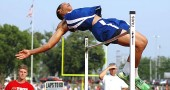 Last weekend Antone Truss became the first YSHS high jumper to qualify for the Ohio High School Division III Track & Field Championships in more than 25 years. The senior seemingly defied gravity during the regional meet as he cleared 6'2'' to secure his position at states and then conquered heights up to 6'6'' to finish as the regional runner-up. (Photo by Megan Bachman)