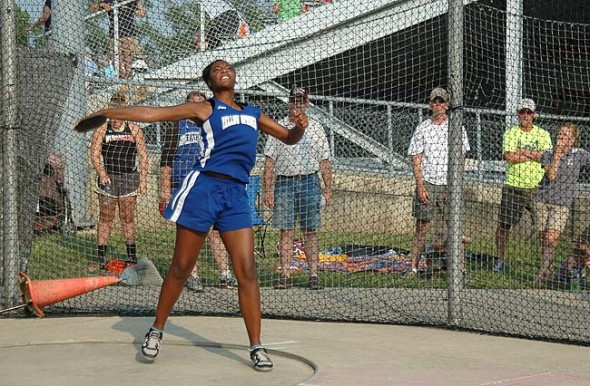 "YSHS junior Angela Allen launched the discus 10 feet further than she did at regionals last year, but still came up short of qualifying for the Division III state finals. Allen's best toss of 102'11"" earned her ninth place at regionals. Visit www.ysnews.com for more photos from the meet. (Photo by Megan Bachman)"