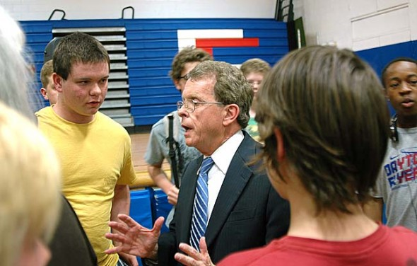 Ohio Attorney General Mike DeWine told Yellow Springs High School and McKinney School students to be independent thinkers and sparred with them over the gay marriage issue at an assembly last week. (Photo by Megan Bachman)