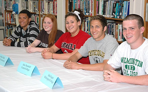 YSHS senior athletes going on to play in college are, from left, Antone Truss, Elizabeth Malone, Erika Chick, Jacob Trumbull and Jake Fugate. (Photo by Megan Bachman)