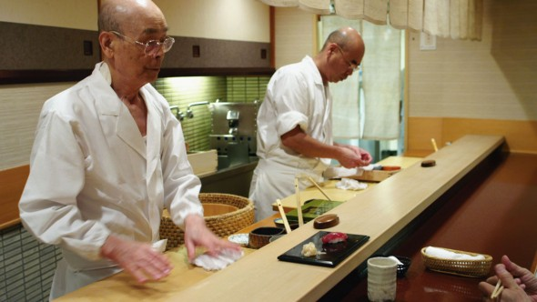 "Jiro Ono and Yoshikazu Ono at their restaurant, Sukiyabashi Jiro. (Still from David Gelb's 2011 film ""Jiro Dreams of Sushi"")"