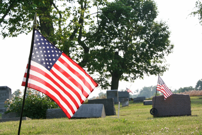 Memorial Day flags at St. Paul Catholic Cemetery. (photos by Suzanne Ehalt)