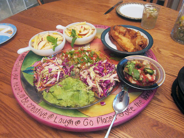 breakfast spread of fish and omelet tacos