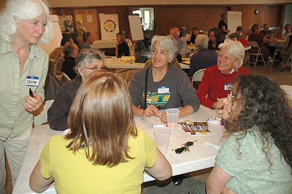 Saturday's public art forum at the First Presbyterian Church was a celebration of the arts in Yellow Springs, along with a brainstorming session on ways to enhance the arts community and what role, if any, local government should play. (Photo by Diane Chiddister)