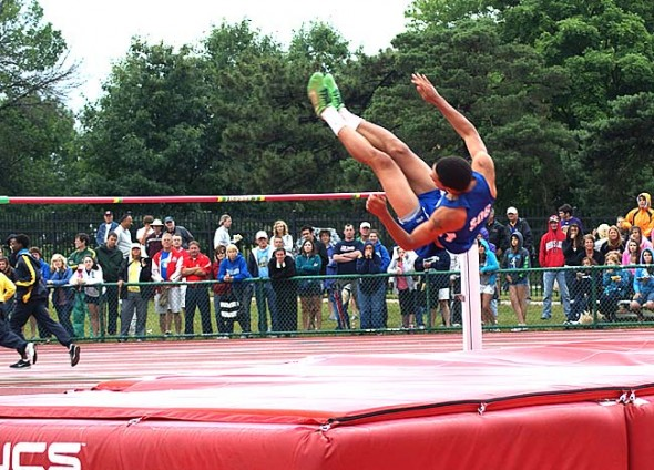"YSHS senior Antone Truss launched himself over the bar during the high jump at the state finals last week. Truss jumped 6'0"" to come in sixth place, the best finish of a YSHS high jumper in more than 40 years. (Submitted photo by Keturah Fulton)"