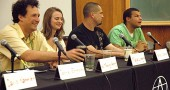"At the ""Antioch Today"" panel at this weekend's Antioch College alumni reunion, students, staff and faculty reflected on the trials and triumphs of college life in the middle of the revived school's first academic year. From left, are Assistant Professor of Philosophy Lewis Trelawny-Cassity, student Maya Lundgren, Resident Life Manager Randle Charles and student Guy Matthews. (Photo by Megan Bachman)"