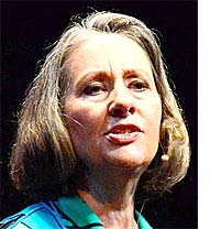 CarolCarolyn Raffensperger, here speaking at a TED event in Maui, Hawaii, will lecture on Friday at 7 p.m. in the Glen Helen Auditorium on the precautionary principle as a way to stem the environmental pollution that threatens the lives of future generations. (Submitted photo)yn Raffensperger`