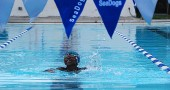 Gini Meekin, 5, swam freestyle at the Seadogs' home meet against Waynesville on July 19. (Submitted Photo by Nan Meekin)