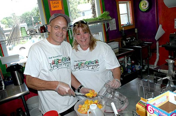 Xenia couple Debi Yawn and David Lee purchased Main Squeeze last week from Donna Lynn Johnson, who opened the juice bar in 2006. Yawn and Lee said they plan to keep selling Main Squeeze's signature smoothies and juices while they add more food items to the menu. (Photo by Megan Bachman)