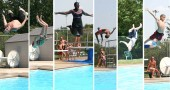 Summer-saults: Even though the temperature rose to a lethargy-inducing 96° last Thursday, July 5, jumpers rose to the occasion to show off for the camera at Gaunt Park pool's deep end. Pool officials cited heavy use during the heat, and a record attendance that Friday. (Photos by Suzanne Ehalt)