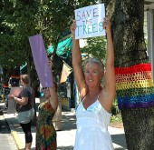 Elizabeth Price and several others led a tree removal protest on Xenia Avenue last Thursday.