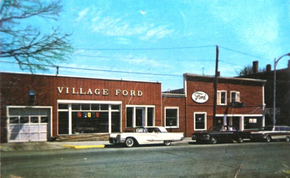 An old postcard of the Village Ford which lived on Dayton Street before moving to Xenia Ave. in 1962 (postcard courteous of Bob Baldwin Jr.)