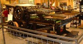 The Yellow Springs News' Miehle press at the Printer's Hall in Mount Pleasant, Iowa.