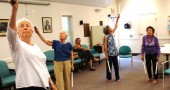 "Participants in a new class, ""Swing Your Way to Health,"" at the Senior Center. (Photo courtesy of Virgil Apostol Mayor)"