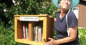 Love of reading can now be shared at a neighborhood level using the new tiny library in Moya Shea's yard at 310 South High Street. The little library operates more like a swap: take a book, leave a book. If the cranberry crate seems too small to serve the whole neighborhood, visit the Little Free Libraries website and learn how to start a library in your front yard. (submitted photo by Susan Gartner)