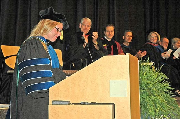 Dr. Michele Dawn Kegley received her Ph.D. in leadership and change at the Antioch University's commencement ceremony on Saturday. The doctoral program, unique in the nation for its emphasis on practical application, graduated 18 students this year. (Photo by Megan Bachman)