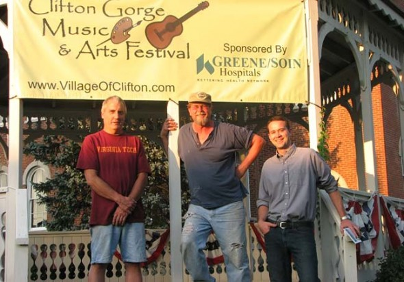 Organizers behind the new Clifton Gorge Music and Arts Festival are, from left, former mayor Steve McFarland, Clifton Council member and volunteer Skip Beehler and Clifton Mayor Alex Bieri. The festival takes place this weekend, Aug. 24–26. See event schedule on page 5. (Photo by Jeff Simons)