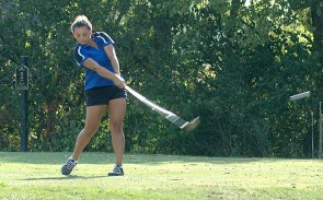 Junior Rachele Orme crushed her drive on the par-4 second hole at the Locust Hills Golf Course during a quad meet last week. Orme, who finished with a season-best 42 over nine holes, once again leads the Yellow Springs High School co-ed golf team. (photo by Megan Bachman)
