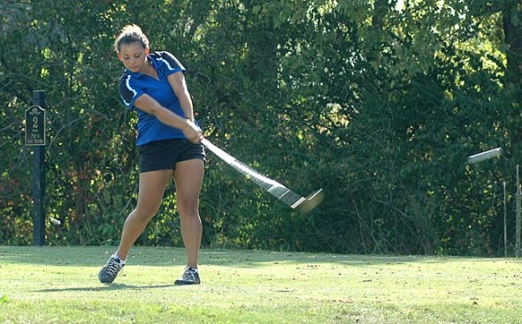 Junior Rachele Orme crushed her drive on the par-4 second hole at the Locust Hills Golf Course during a quad meet last week. Orme, who finished with a