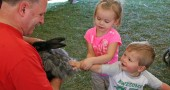 Avery Young, 3, helps her little brother Griffin, 1, pet the rabbit at the Wool Gathering this weekend. (photos by Suzanne Ehalt)