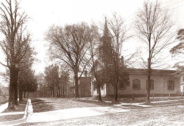 The United Methodist Church at its Winter Street location, as seen from Dayton Street in the early 20th century. The photo was developed from a glass negative owned by Howard Kahoe.