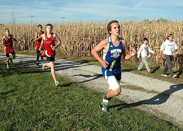 Yellow Springs High School sophomore Connor Gravely-Novello ran through the cornfields at the 26th annual Yellow Springs Invitational held at Young's Jersey Dairy on Tuesday. Gravely-Novello finished in 18:50, good for 16th place. (Photo by Megan Bachman)