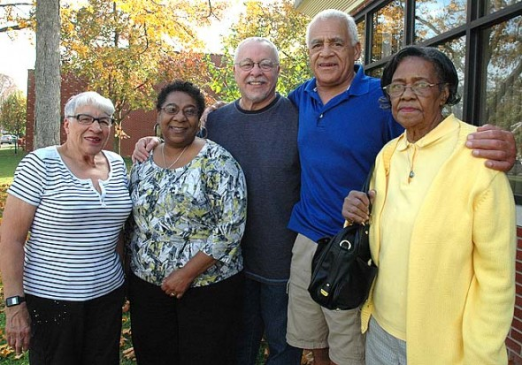 A panel of native Yellow Springers will discuss the significant role African Americans have played in the making of Yellow Springs and other issues at a free forum on Monday, Oct. 29, from 7 to 9 p.m. at Antioch University Midwest. From left are panelists Betty Ford, Sharon Perry, David Perry, Kingsley Perry Jr., and Isabel Newman. (Photo by Megan Bachman)