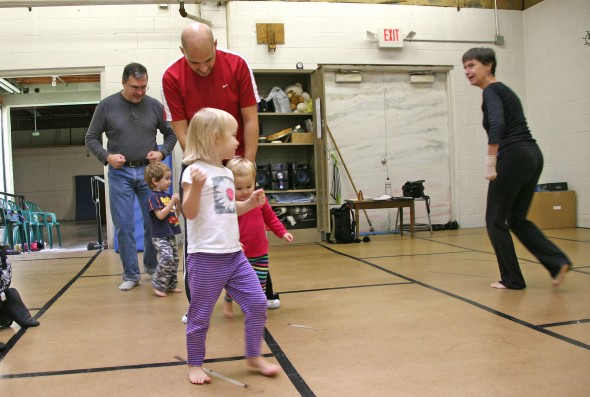In Jill Becker's Kindermusik class Saturday morning was Richard Elliott and his son Gavin, age 3, along with Paco Labrador and his daughters Isabel, 2, and Olivia, 3 1/2. In the class but not in this picture was Shane Creebingbear and Hazel, age 3. (photos by Suzanne Ehalt)