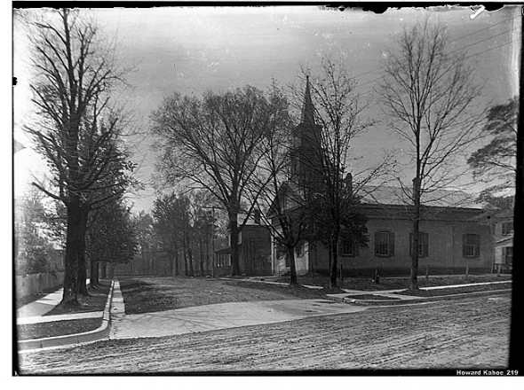 The United Methodist Church at its Winter Street location, as seen from Dayton-Yellow Springs Road in the early 20th century. The photo was developed from a glass negative owned by Howard Kahoe.