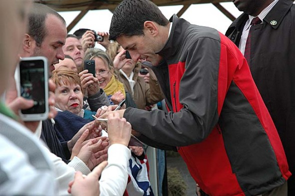 Paul Ryan, the Republican candiate for vice-president, was the focus of a rally last Saturday at Young's Jersey Dairy, drumming up support from the party faithful in the embattled crucial state of Ohio. The event drew more than 2,000 people, in spite of inclement weather. (Photo by Lauren Heaton)