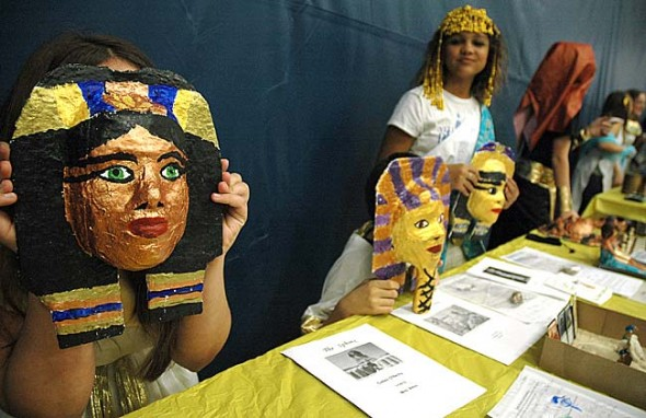 Mills Lawn School sixth graders presented the fruits of their studies at Egypt night, displaying masks, models and jewelry. (Photos by Matt Minde)