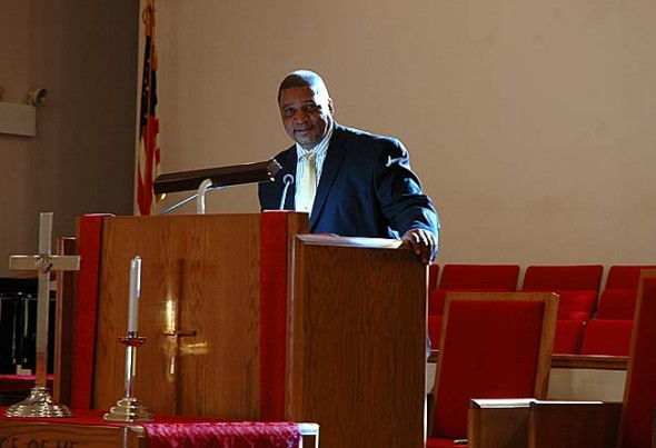 Bill Randolph, the new pastor of the First Baptist Church gave a stirring sermon at Sunday's worship service. Randolph, who was installed on Nov. 11, is a longtime villager who raised his five children in town. He hopes to grow the church's dwindling congregation. (Photo by Megan Bachman)
